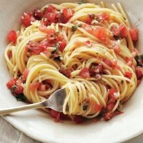 Pasta with Fresh Tomatoes, Basil, Garlic, Olive Oil, and Parmesan Cheese #food