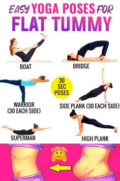 Mar 2020 - Yoga has many poses specifically for building losing weight. Weve rounded up our favorites and present to you 6 beginner yoga poses for a flat tummy! its a 30 second for each pose , repeat it at lease 2 or 3 times , yoga poses for beginners . Yoga Poses For Back, Easy Yoga Poses, Yoga For Back Pain, Core Yoga Poses, Beginner Yoga Poses, Stretches For Your Back, Kundalini Yoga Poses, Standing Yoga Poses, Yoga Fitness