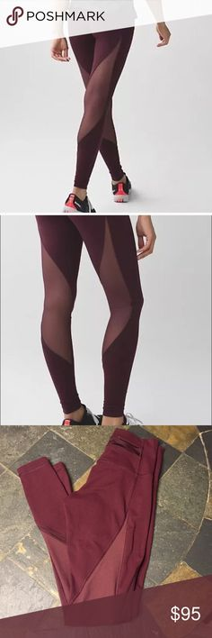 Wunder Under Shine On Tight Beautiful Bordeaux color, fabric is full on luon. These are in great shape! Very slight balling on the back of thigh ( posted in pictures) you can barely see it. No size tag but these are without a doubt a 6 😊😊. Please make offer using offer button! lululemon athletica Pants Leggings