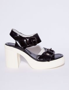 5bc9563be90c Buckled white platform sandals
