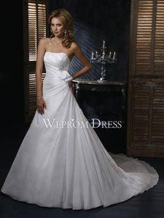 Cutest-Strapless-Natural-Chapel-Train-Taffeta-White-Ruche-Bow-Tie-Beading-A-Line-Wedding-Dresses-WG3754.jpg (900×1200)