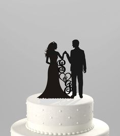 22.00 Wedding Cake Topper Silhouette Groom and Bride Hand in Hand, Personized with your Initials,  Acrylic Cake Topper [CT83i]