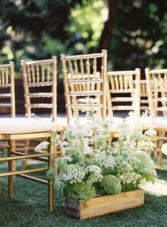 A Seattle Winery wedding featuring classic outdoor details, tablescapes sprinkled with candles and a soft color palette in shades of gray. Wedding Pews, Wedding Ceremony Flowers, Wedding Bouquets, Wedding Venues, Floral Wedding Decorations, Ceremony Decorations, Flower Decorations, Church Decorations, Wedding Pew Markers
