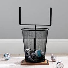 Make tossing the trash a new kind of sport. This playful Field goal Trashcan will make emptying the trash a whole lot more fun. KEY PRODUCT POINTSMade from MDF (medium density fiberboard), metal and rubber. Decorative Storage Bins, Storage Baskets, Jewelry Wall, Free Interior Design, Pottery Barn Teen, Laundry Hamper, Bedding Shop, Wall Hooks, Window Coverings