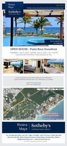 PUNTA ROCA OCEANFRONT Lujoso condominio está ubicado en el desarrollo más contemporáneo de Puerto Aventuras y frente al mar. Cuenta con amplios jardines, piscina y albercas naturales del mar. El condominio está completamente amueblado y cuenta con 2 recámaras y 2.5 baños. USD 489,000