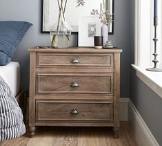 Astoria Turned Leg Dresser From the Pottery Barn Small Spaces Collection, . Extra Wide Dresser, Small Dresser, 3 Drawer Nightstand, Small Chest Of Drawers, Nightstand Ideas, Ikea Dresser, Bedside Cabinet, Ikea Bedroom, Bedroom Dressers