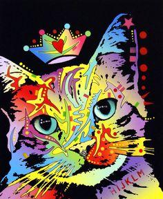 Gatos, impressão, caracterizando, pintura, inclinado, gato, coroado, decano, russo
