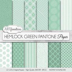"Green digital papers ""HEMLOCK GREEN PANTONE"" spring color, background, geometric designs, quatrefoil, flower, green for scrapbooking & more"