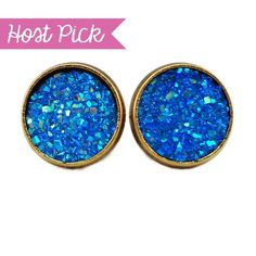 HP!  Iridescent Blue Faux Druzy Earrings Handmade earrings with blue faux druzy charms. Bundle 3 pairs for $12, comment with your choices or create a bundle to get discount. ❤️. Customer photos shown for size comparison only. Handmade Jewelry Earrings