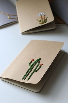 Cactus hand embroidered moleskine pocket notebook by PoppyandFern