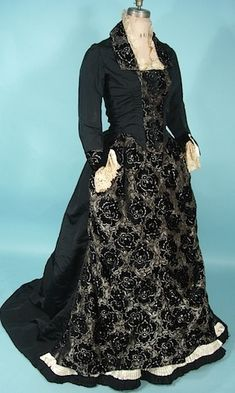 Lovely Silk Soft Black Cut Velvet 2-Piece Trained Gown With Handmade Ivory Lace Trim   c.1880's