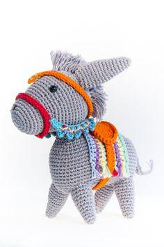 Donkey - Crochet Donkey - Fiesta - Amigurumi - Soft toys - Bright Colors - Birthday Gift - Animals - Kids gifts Crochet Penguin, Crochet Toys, 30 Gifts, Kids Gifts, Recycled Jewelry, Paper Beads, Amigurumi Toys, Dinosaur Stuffed Animal, Birthday Gifts