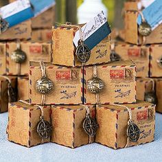 "Travel Theme Wedding Ideas -These DIY vintage inspired ""airmail"" packages make lovely favor packaging for your edible favors. Wedding Favors And Gifts, Destination Wedding Favors, Creative Wedding Favors, Wedding Favor Boxes, Favour Boxes, Wedding Ideas, Favor Bags, Gift Bags, Diy Wedding"