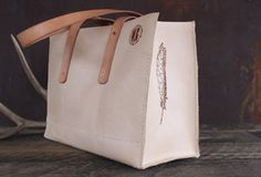 Natural Leather Market Bag by WillowCreekLeatherCo