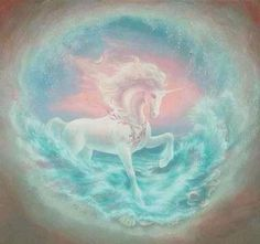 Unicorn in the waves.