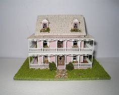 Painted Lady micro mini house, furnished. A dollhouse miniature in 1/144th scale