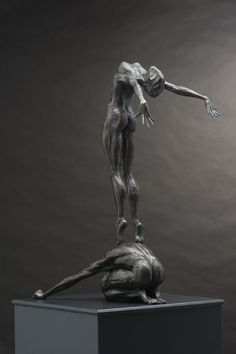 Bronze Abstract Dance / Dancer sculpture by sculptor Keith Calder titled: 'Conception 2' - Artwork View 1