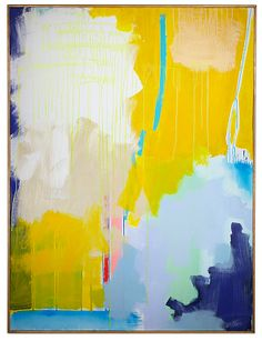 """""""Yellow Interrupted"""" by Jenny Prinn, 36"""" x 48"""", available at Serena & Lily. #serenaandlily"""