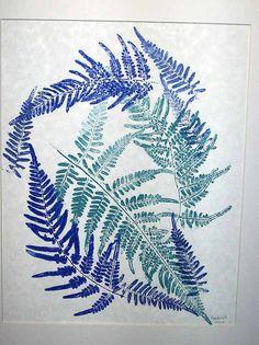 16 x 20 Fern print, Botanical art hand-pulled original print, blue & aqua, dancing ferns, teal and marine blue