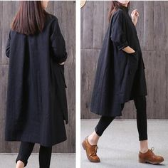 Item Type: women shirt Material: cotton, linen Season: spring,autumn Style: casual Collar type: stand collar Clothing placket: pullover Patter… - All About Iranian Women Fashion, Pakistani Fashion Casual, Pakistani Dresses Casual, Kurta Designs, Frock Fashion, Black Long Sleeve Shirt, Korea, Casual Outfits, Clothes For Women