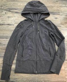 Lululemon In Stride Jacket Gray Athletic Full Zip Hood Womens Sz 6* | eBay