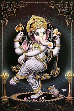 Dancing Ganesha - Hindu Posters (Reprint on Paper - Unframed) Ganesha Drawing, Lord Ganesha Paintings, Ganesha Tattoo, Ganesha Art, Ganesha Pictures, Ganesh Images, Indian Gods, Indian Art, Pintura Ganesha