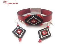 red leather bracelet set with earrings