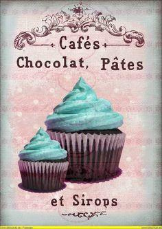 Bügelbilder - Vintage Shabby Bügelbild Cupcake Muffin blau - ein Designerstück von Doreens-Bastelstube bei DaWanda