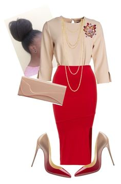 """""""Morning Manna!!"""" by cogic-fashion ❤ liked on Polyvore featuring Icepinkim, Jones New York and Christian Louboutin"""