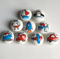 White Transportation Drawer Pulls / Dresser Knobs / Closet Handles / Hand Painted for Boys, Kids, Nursery Rooms