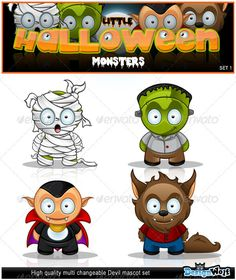 Buy Little Halloween Monster's - Set 1 by Design_Wolf on GraphicRiver. Set 1 of my cute little Halloween monsters. Great for adding a theme . Halloween Wood Crafts, Halloween Artwork, Halloween Rocks, Halloween Doodle, Halloween Cartoons, Halloween Drawings, Halloween 2020, Cute Halloween, Halloween Cards