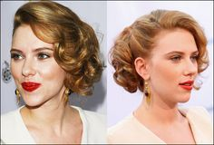 I was also thinking maybe this? Scarlett Johansson's Side-Parted Bun Curly Hairstyle