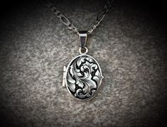 Art Nouveau Inspired Hand Engraved Art Jewelry Sterling Silver Locket