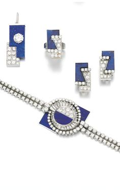 LAPIS LAZULI AND DIAMOND PARURE, 1970S Comprising: pendent necklace, ear clips, ring and bracelet, each of geometric design, set with polished lapis lazuli and brilliant-cut and baguette diamonds.