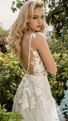 dany mizrachi spring 2018 bridal sleeveless v neck heavily embellished bodice romantic a line wedding dress open v back sweep train (15) zbv