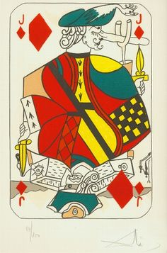 Salvador Dali, Jack of Diamonds, Lithograph on Paper, Limited Edition Miss Piggy, Kandinsky, Klimt, Matisse, Printable Playing Cards, Salvador Dali Art, Vintage Playing Cards, Magic Art, Art For Art Sake