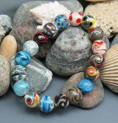 SJC Lampwork 18 handmade silver glass & dichroic round beads ~SRA~ USA~ #SJCLampwork #Lampwork