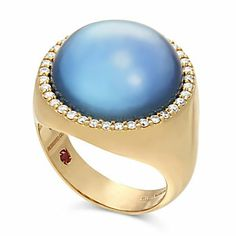 Roberto Coin 18K Blue Topaz, Lapis, Mother of Pearl Triplet & Diamond Ring