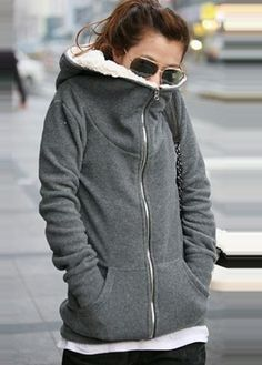 Warm Comfy Zipper Fly Thickened Hooded Coat Deep Grey -