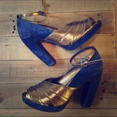 Two tone Seychelles heels Stunning new navy blue and gold heels. Size 7.5. No PP or trades. Will consider offers. Seychelles Shoes Heels