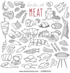 Set Of Various Doodles, Hand Drawn Rough Simple Sketches Of Different Kinds And Parts Of Meat. Vector Freehand Illustration Isolated On White Background. - 249963154 : Shutterstock
