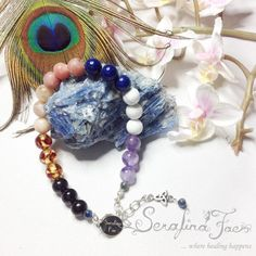 Not being able to quiet the mind and sleep can be maddening. To battle insomnia, I created this chakra bracelet. All the stones selected can promote sleep, relaxation and balance. Especially the combination of Jet and Amber is energetically a strong powerpackage of sleepaid.
