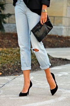 Boyfriend Jeans   Heels