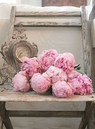 I love the colors of the pink peonies against this chippy old chair!