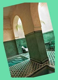 These green tiled interiors are so very inspiring. Morocco, of course:-) Morrocan Bathroom, Moroccan Tiles, Modern Bathroom, Moroccan Design, Bathroom Renovations, Morocco, Color Mixing, Exotic, Spa