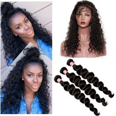 Malaysian Virgin Hair Loose Curly Wave 360 Lace Frontal Closure With Bundles Malaysian Wavy 3 Bundles With 360 Lace Virgin Hair