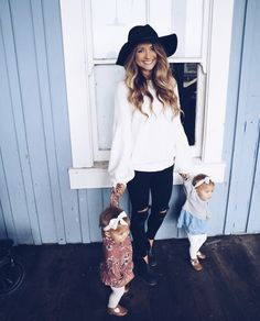 You can still look put together even with small children in tow...a simple pair of jeans, a feminine top, and cute hat is all it takes. Evie & Adrienne || Sustainable Baby Clothing and Accessories || Made in America || Be The Good || Fertility Awareness || www.evieandadrienne.com (original post) //shine bright✧ 《pinterest: adriannahopexo #babyclotheswinter
