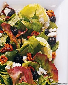 Mixed Greens Salad with Sugared Walnuts, Blackberries, and Feta Recipe