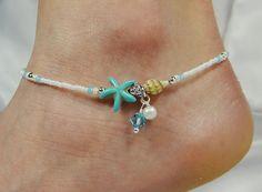 Anklet, Ankle Bracelet, Blue Starfish Anklet, Starfish Jewelry, Beach Anklet, Beach Jewelry, Sea Shell Jewelry, Pearl Anklet, Blue Anklet
