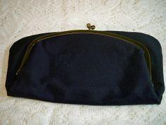 Vintage 1940s Navy Corded Evening Bag Clutch Purse by BlackRain4, $34.99